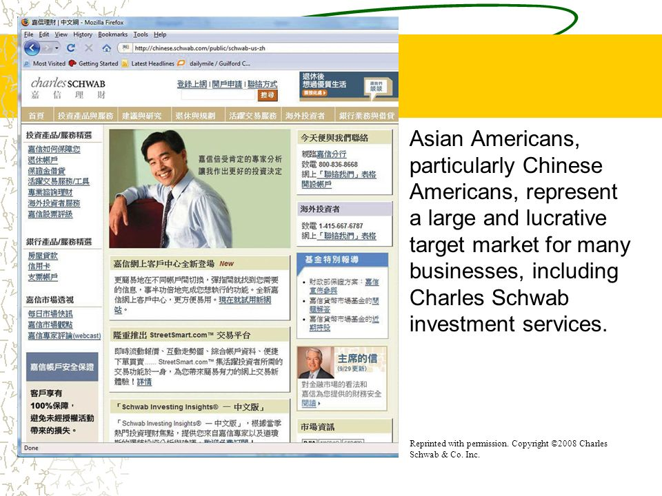 Asian Americans, particularly Chinese Americans, represent a large and lucrative target market for many businesses, including Charles Schwab investmen