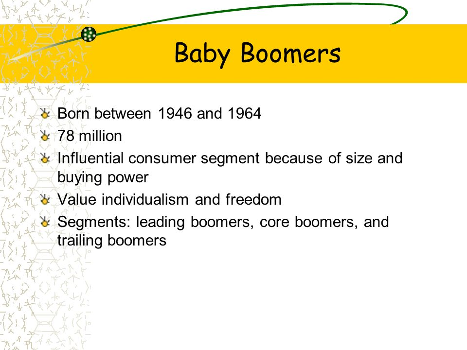 Baby Boomers Born between 1946 and 1964 78 million Influential consumer segment because of size and buying power Value individualism and freedom Segme