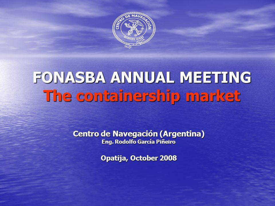 FONASBA ANNUAL MEETING The containership market Centro de Navegación (Argentina) Eng.