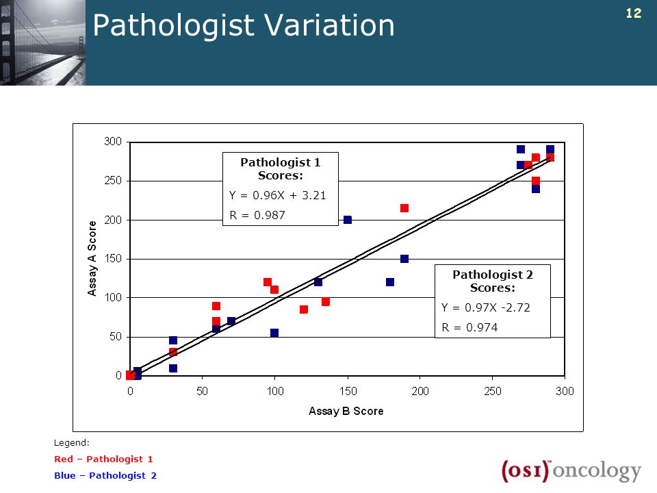 12 Pathologist Variation Legend: Red – Pathologist 1 Blue – Pathologist 2 Pathologist 1 Scores: Y = 0.96X + 3.21 R = 0.987 Pathologist 2 Scores: Y = 0