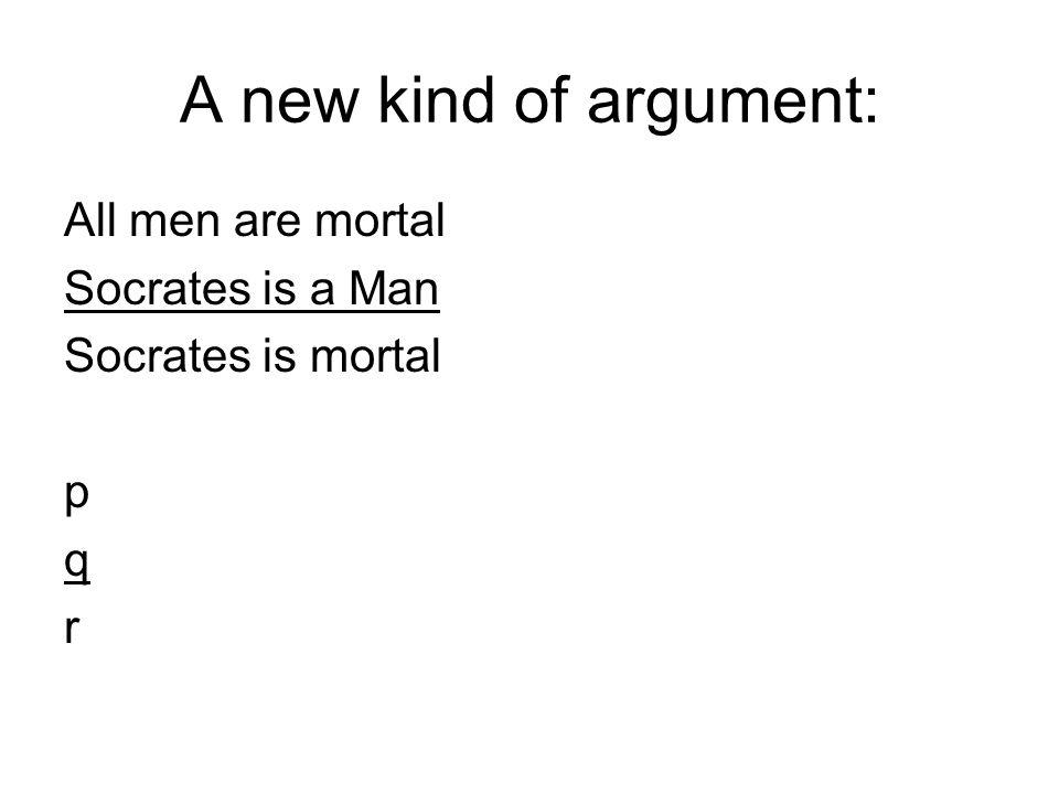 A new kind of argument: All men are mortal Socrates is a Man Socrates is mortal p q r