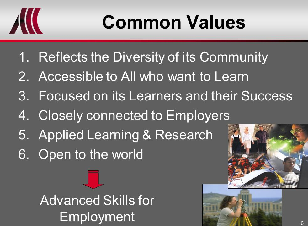 6 Common Values 1.Reflects the Diversity of its Community 2.Accessible to All who want to Learn 3.Focused on its Learners and their Success 4.Closely