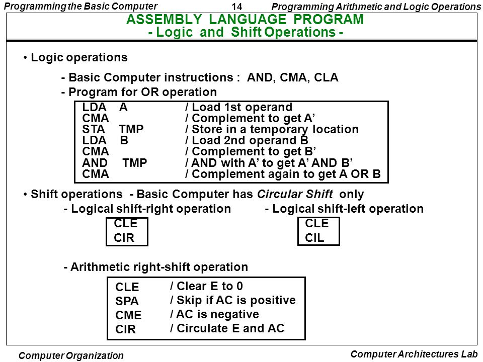 14 Programming the Basic Computer Computer Organization Computer Architectures Lab ASSEMBLY LANGUAGE PROGRAM - Logic and Shift Operations - Logic oper