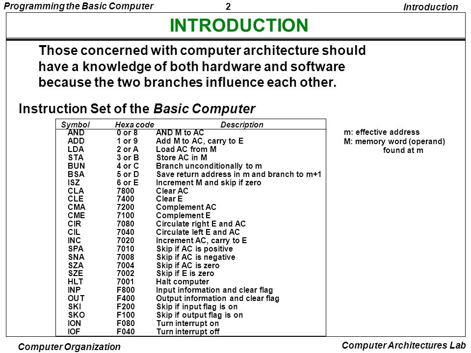 13 Programming the Basic Computer Computer Organization Computer Architectures Lab ASSEMBLY LANGUAGE PROGRAM - Multiplication - ORG 100 CLE LDA Y CIR STA Y SZE BUN ONE BUN ZRO LDA X ADD P STA P CLE LDA X CIL STA X ISZ CTR BUN LOP HLT DEC -8 HEX 000F HEX 000B HEX 0 END / Clear E / Load multiplier / Transfer multiplier bit to E / Store shifted multiplier / Check if bit is zero / Bit is one; goto ONE / Bit is zero; goto ZRO / Load multiplicand / Add to partial product / Store partial product / Clear E / Load multiplicand / Shift left / Store shifted multiplicand / Increment counter / Counter not zero; repeat loop / Counter is zero; halt / This location serves as a counter / Multiplicand stored here / Multiplier stored here / Product formed here LOP, ONE, ZRO, CTR, X, Y, P, Programming Arithmetic and Logic Operations