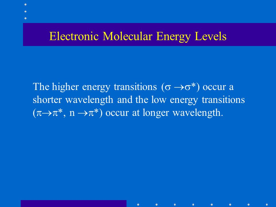Electronic Molecular Energy Levels The higher energy transitions ( *) occur a shorter wavelength and the low energy transitions ( *, n *) occur at lon