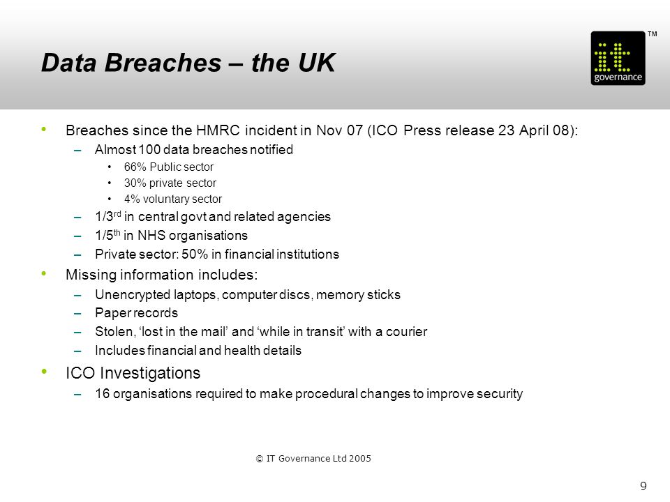 TM Data Breaches - Ireland Bank of Ireland –Lost unencrypted memory stick with the personal details of nearly 1,000 customers (Nov 2008) Bank of Ireland –Four unencrypted laptops stolen with the personal records of 10,000 customers (April 2008) HSE –Two unencrypted laptops gone missing (Sept 2008) Dept of Social & Family Affairs –Laptop with details of 390,000 citizens lost or stolen at the bus stop 10 © IT Governance Ltd 2005