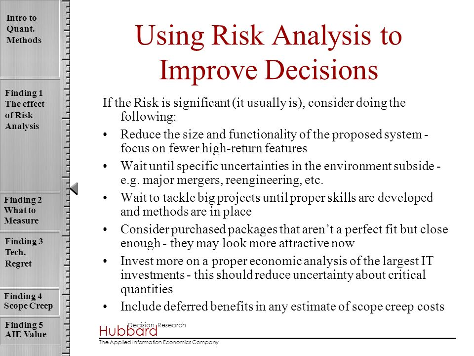 Hubbard Decision Research The Applied Information Economics Company Intro to Quant. Methods Finding 1 The effect of Risk Analysis Finding 4 Scope Cree