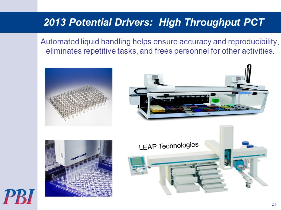 2013 Potential Drivers: High Throughput PCT Automated liquid handling helps ensure accuracy and reproducibility, eliminates repetitive tasks, and frees personnel for other activities.