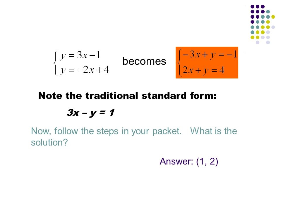 becomes Now, follow the steps in your packet. What is the solution? Answer: (1, 2) Note the traditional standard form: 3x – y = 1