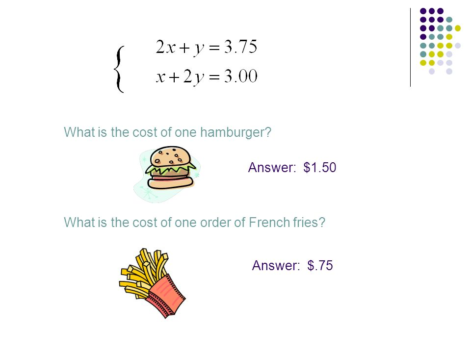 What is the cost of one hamburger? Answer: $1.50 What is the cost of one order of French fries? Answer: $.75