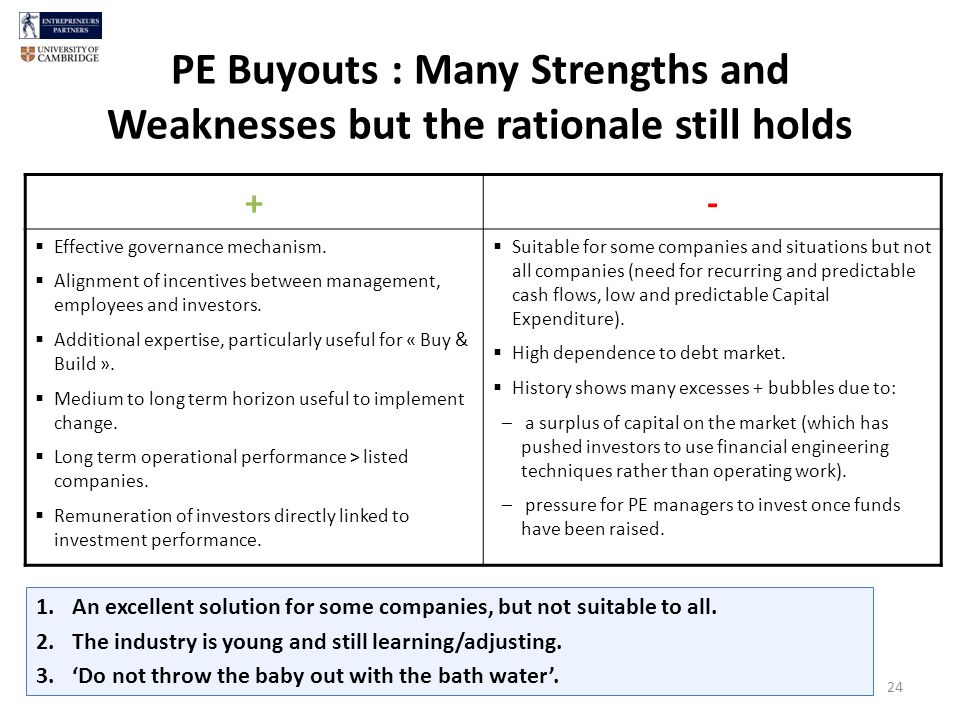 PE Buyouts : Many Strengths and Weaknesses but the rationale still holds 24 +- Effective governance mechanism.