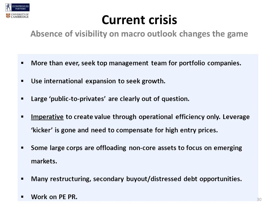 Current crisis Absence of visibility on macro outlook changes the game More than ever, seek top management team for portfolio companies.