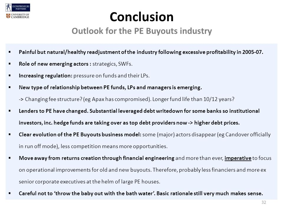 Conclusion Outlook for the PE Buyouts industry Painful but natural/healthy readjustment of the industry following excessive profitability in 2005-07.