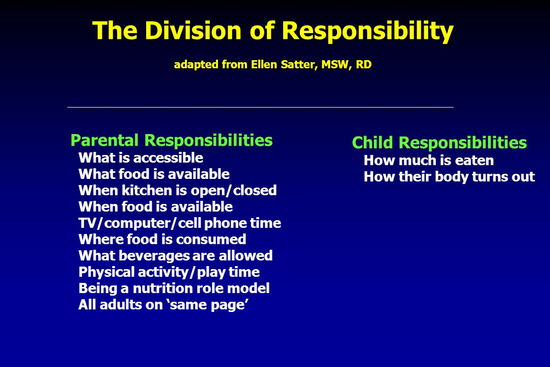 The Division of Responsibility adapted from Ellen Satter, MSW, RD Parental Responsibilities What is accessible What food is available When kitchen is