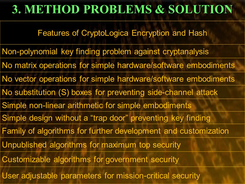 3. METHOD PROBLEMS & SOLUTION Features of CryptoLogica Encryption and Hash Non-polynomial key finding problem against cryptanalysis No matrix operatio