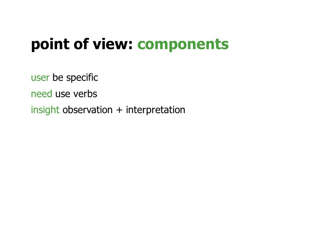 point of view: components user be specific need use verbs insight observation + interpretation