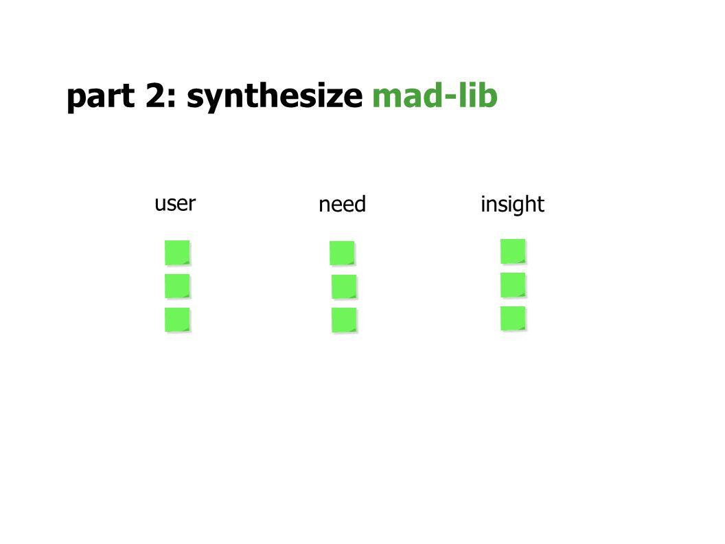 part 2: synthesize mad-lib user needinsight