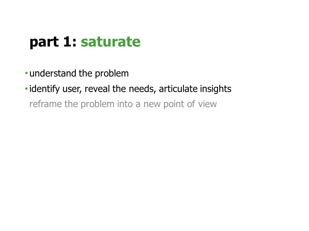 understand the problem identify user, reveal the needs, articulate insights reframe the problem into a new point of view part 1: saturate