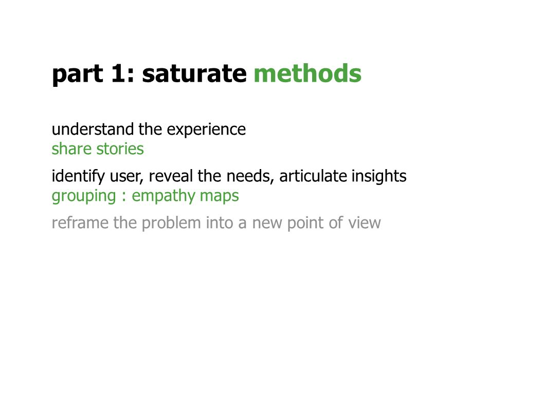understand the experience share stories identify user, reveal the needs, articulate insights grouping : empathy maps reframe the problem into a new point of view part 1: saturate methods