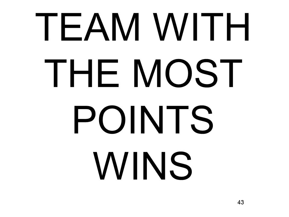 43 TEAM WITH THE MOST POINTS WINS 43