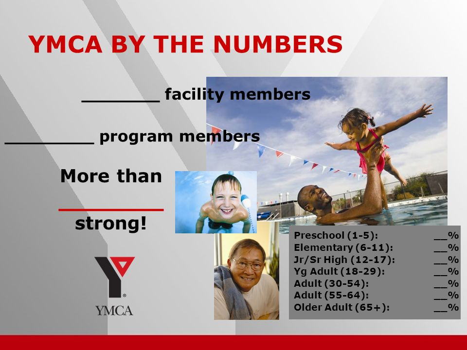 8 _______ facility members ________ program members YMCA BY THE NUMBERS Preschool (1-5):__% Elementary (6-11):__% Jr/Sr High (12-17):__% Yg Adult (18-29):__% Adult (30-54):__% Adult (55-64):__% Older Adult (65+):__% More than _______ strong!