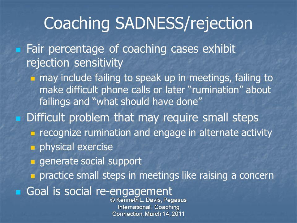 © Kenneth L. Davis, Pegasus International: Coaching Connection, March 14, 2011 Fair percentage of coaching cases exhibit rejection sensitivity may inc
