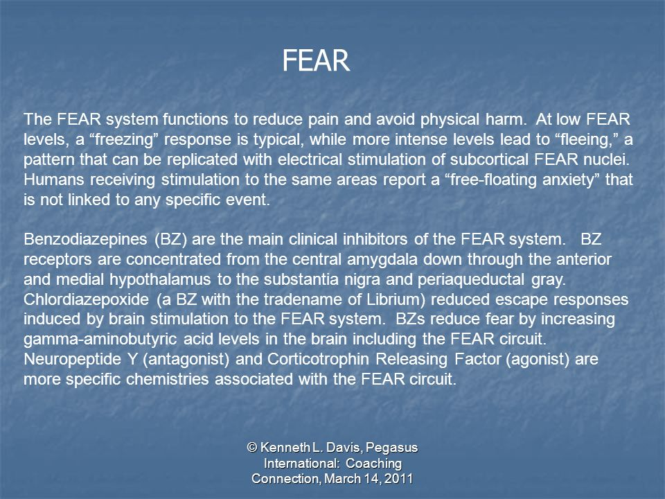 © Kenneth L. Davis, Pegasus International: Coaching Connection, March 14, 2011 FEAR The FEAR system functions to reduce pain and avoid physical harm.