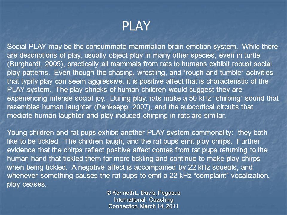 © Kenneth L. Davis, Pegasus International: Coaching Connection, March 14, 2011 PLAY Social PLAY may be the consummate mammalian brain emotion system.