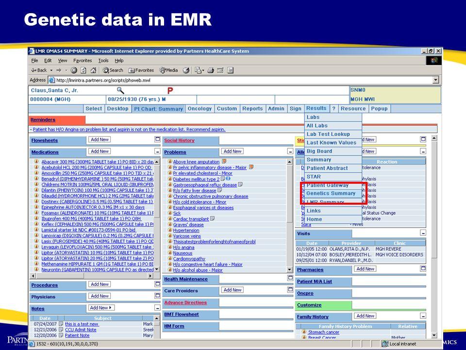 Genetic data in EMR