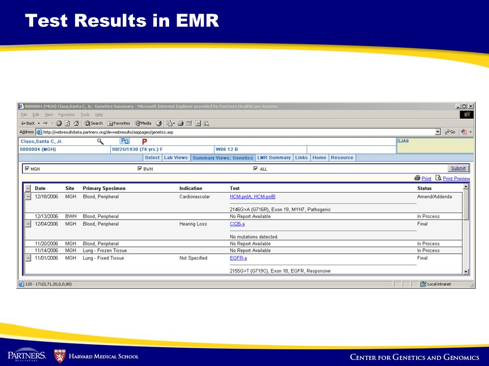 Test Results in EMR