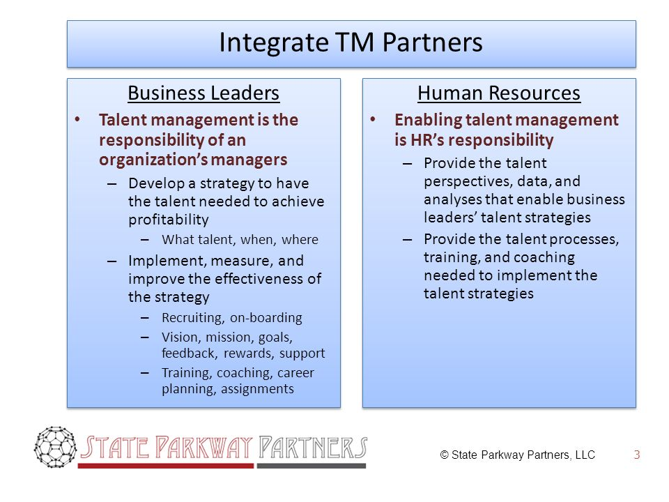 © State Parkway Partners, LLC 3 Integrate TM Partners Business Leaders Talent management is the responsibility of an organizations managers – Develop a strategy to have the talent needed to achieve profitability – What talent, when, where – Implement, measure, and improve the effectiveness of the strategy – Recruiting, on-boarding – Vision, mission, goals, feedback, rewards, support – Training, coaching, career planning, assignments Business Leaders Talent management is the responsibility of an organizations managers – Develop a strategy to have the talent needed to achieve profitability – What talent, when, where – Implement, measure, and improve the effectiveness of the strategy – Recruiting, on-boarding – Vision, mission, goals, feedback, rewards, support – Training, coaching, career planning, assignments Human Resources Enabling talent management is HRs responsibility – Provide the talent perspectives, data, and analyses that enable business leaders talent strategies – Provide the talent processes, training, and coaching needed to implement the talent strategies Human Resources Enabling talent management is HRs responsibility – Provide the talent perspectives, data, and analyses that enable business leaders talent strategies – Provide the talent processes, training, and coaching needed to implement the talent strategies