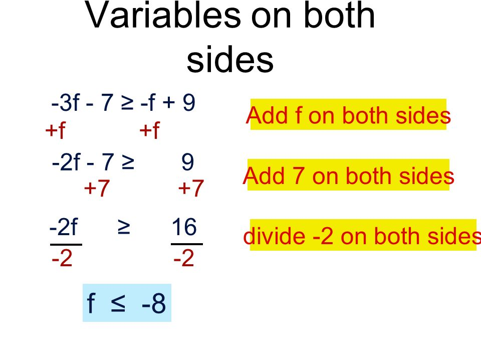 Variables on both sides -3f - 7 -f + 9 +f -2f - 7 9 +7 -2f 16 -2 f -8 Add f on both sides Add 7 on both sides divide -2 on both sides