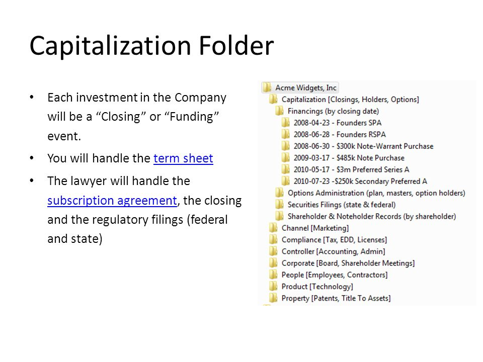 Capitalization Folder Each investment in the Company will be a Closing or Funding event. You will handle the term sheetterm sheet The lawyer will hand