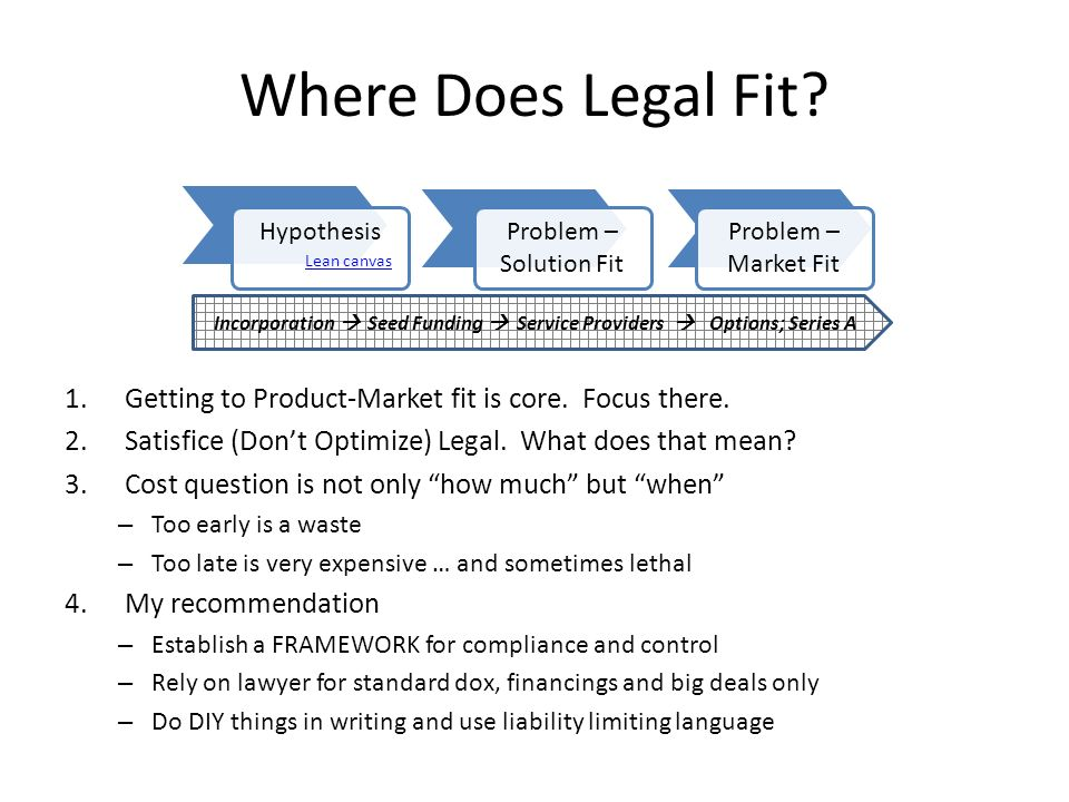 Where Does Legal Fit? 1.Getting to Product-Market fit is core. Focus there. 2.Satisfice (Dont Optimize) Legal. What does that mean? 3.Cost question is