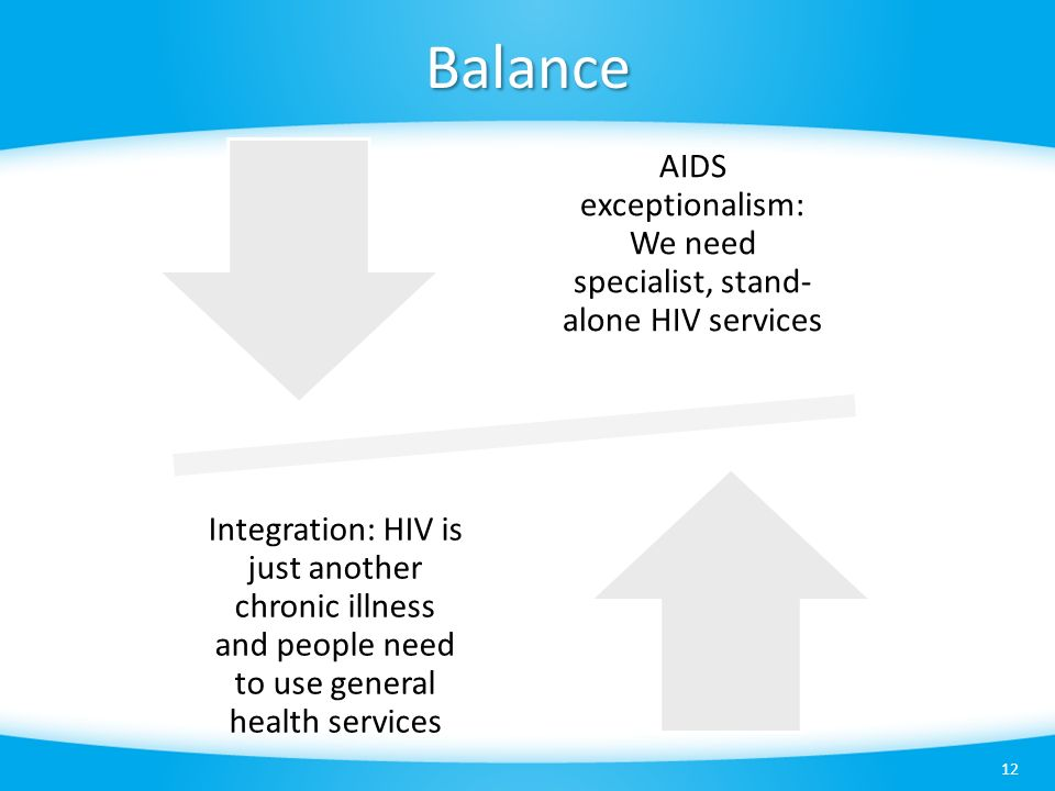 Balance 12 AIDS exceptionalism: We need specialist, stand- alone HIV services Integration: HIV is just another chronic illness and people need to use general health services