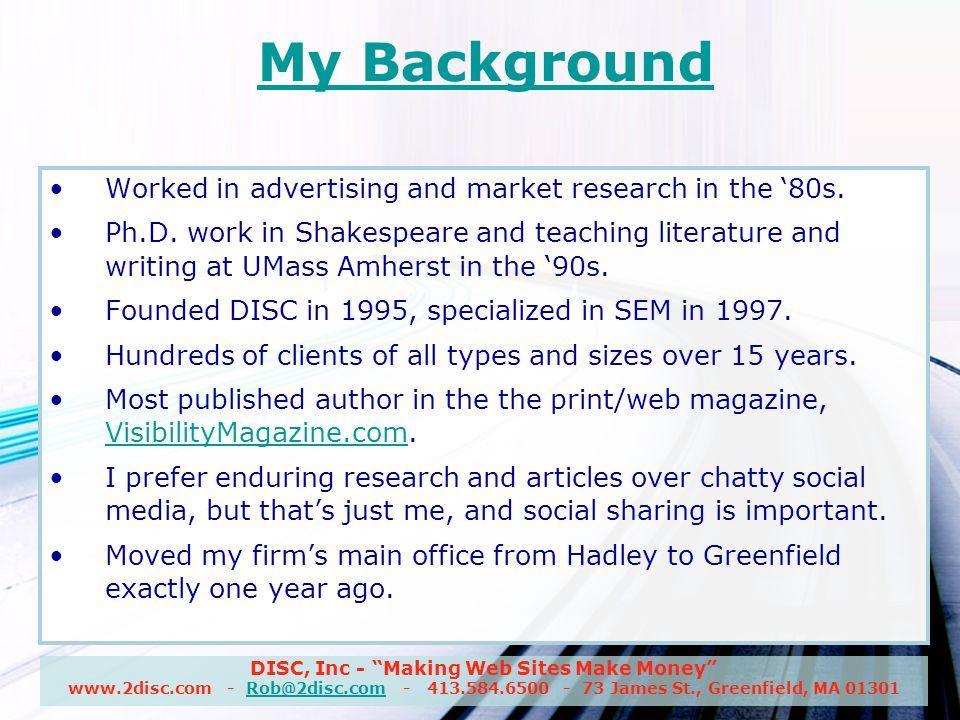 DISC, Inc - Making Web Sites Make Money www.2disc.com - Rob@2disc.com - 413.584.6500 - 73 James St., Greenfield, MA 01301Rob@2disc.com CMS & Database SEO or CMS-SEO Do a CMS-SEO audit and correct problems found.