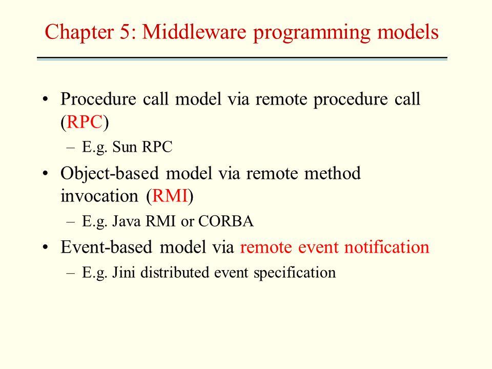 Chapter 5: Middleware programming models Procedure call model via remote procedure call (RPC) –E.g. Sun RPC Object-based model via remote method invoc