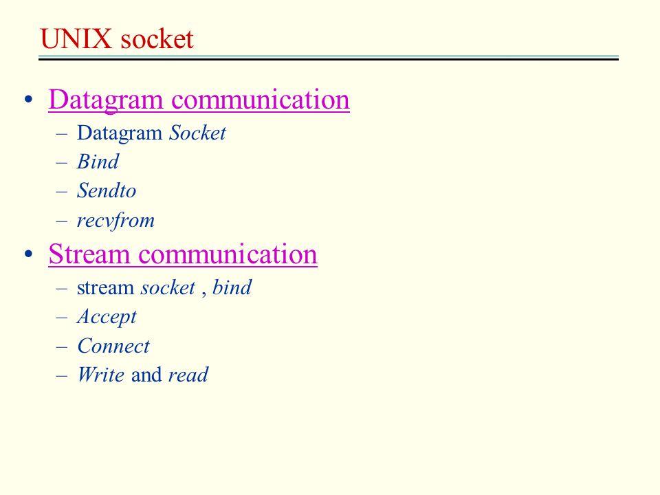 UNIX socket Datagram communication –Datagram Socket –Bind –Sendto –recvfrom Stream communication –stream socket, bind –Accept –Connect –Write and read