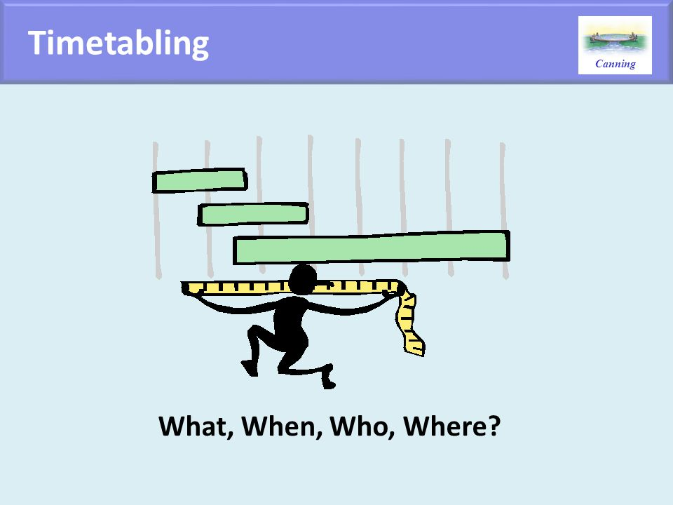 Canning Timetabling What, When, Who, Where?