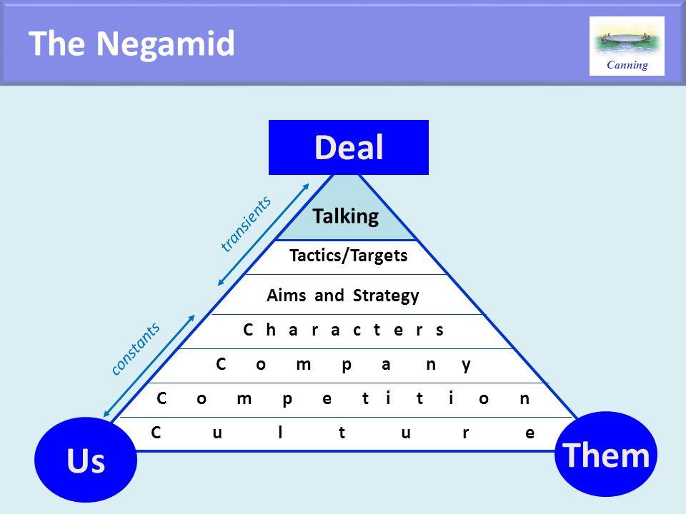 Canning C u l t u r e C o m p a n y C o m p e t i t i o n C h a r a c t e r s Aims and Strategy Tactics/Targets Talking Deal Us Them constants transie