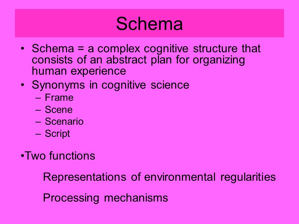 Schema Schema = a complex cognitive structure that consists of an abstract plan for organizing human experience Synonyms in cognitive science –Frame –Scene –Scenario –Script Two functions Representations of environmental regularities Processing mechanisms