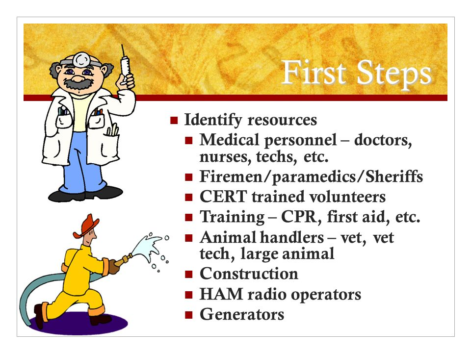 First Steps Identify resources Medical personnel – doctors, nurses, techs, etc.