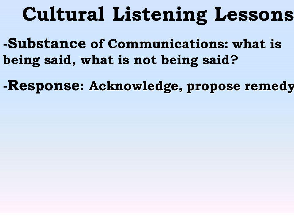 Cultural Listening Lessons - Substance of Communications: what is being said, what is not being said? Acknowledge, propose remedy. - Response : Acknow