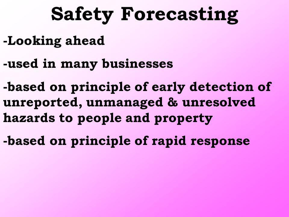 Safety Forecasting -Looking ahead -used in many businesses -based on principle of early detection of unreported, unmanaged & unresolved hazards to peo