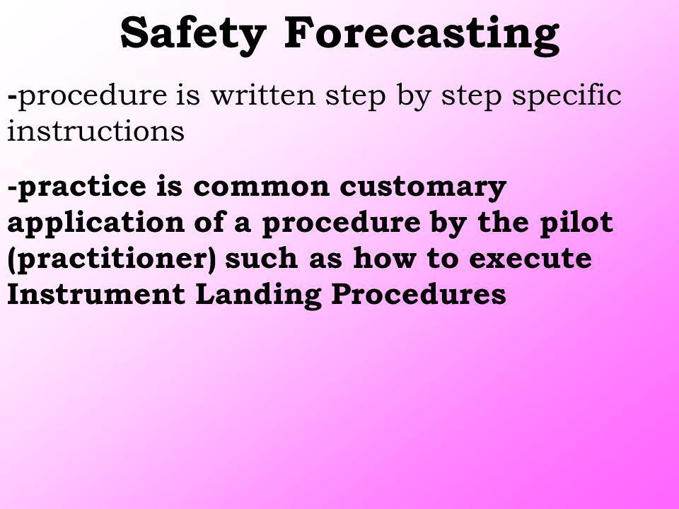 Safety Forecasting - procedure is written step by step specific instructions practice -practice is common customary application of a procedure by the