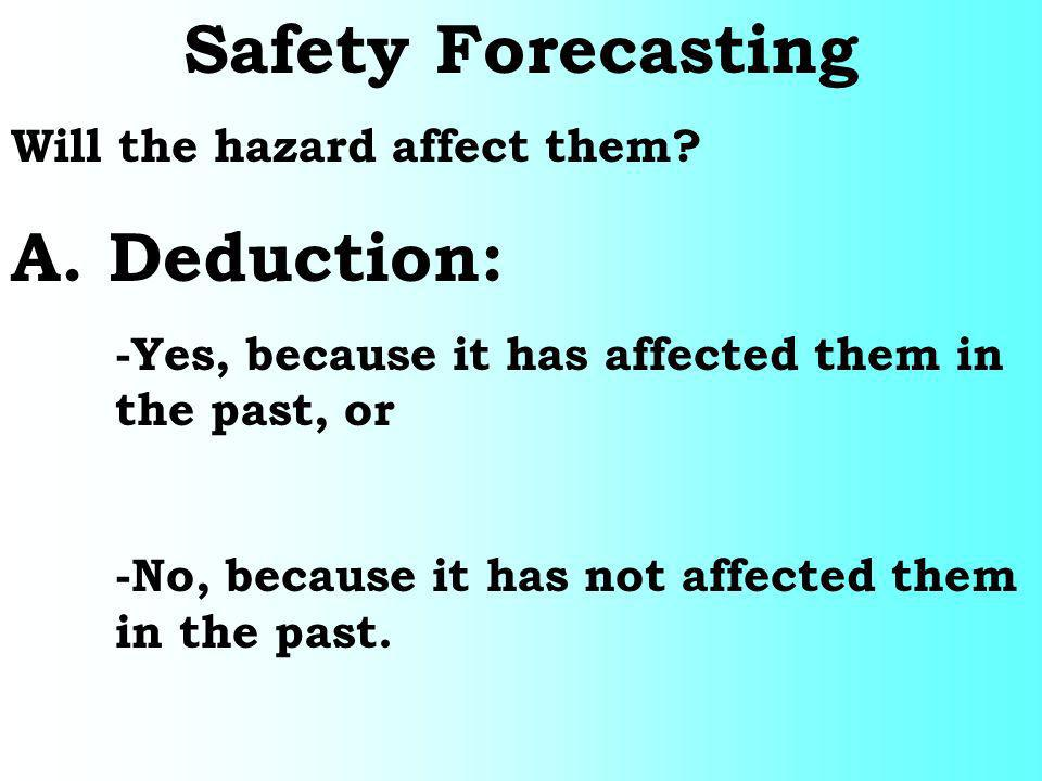 Safety Forecasting Will the hazard affect them? A. Deduction: -Yes, because it has affected them in the past, or -No, because it has not affected them
