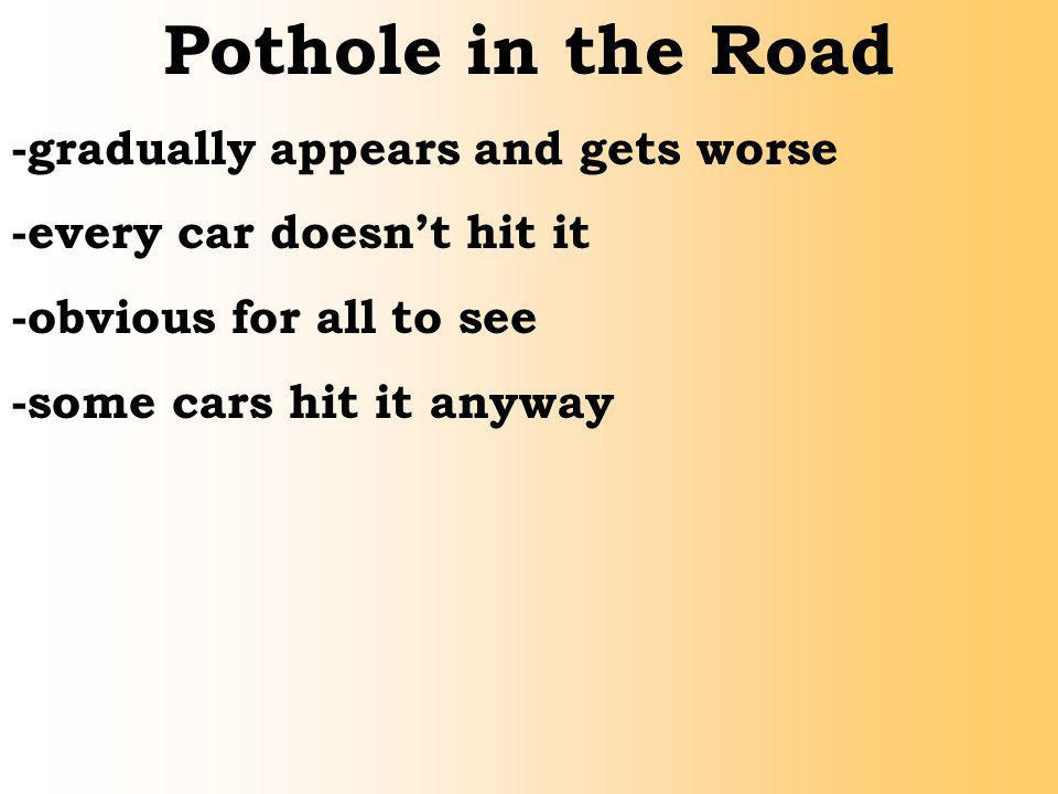 Pothole in the Road -gradually appears and gets worse -every car doesnt hit it -obvious for all to see -some cars hit it anyway