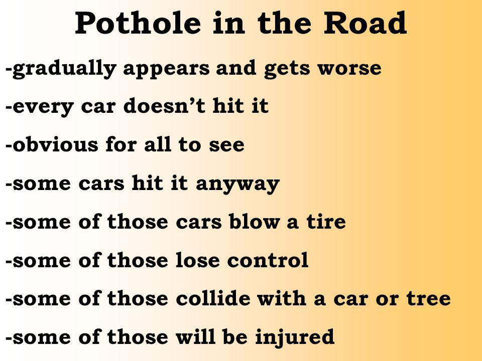 Pothole in the Road -gradually appears and gets worse -every car doesnt hit it -obvious for all to see -some cars hit it anyway -some of those cars bl