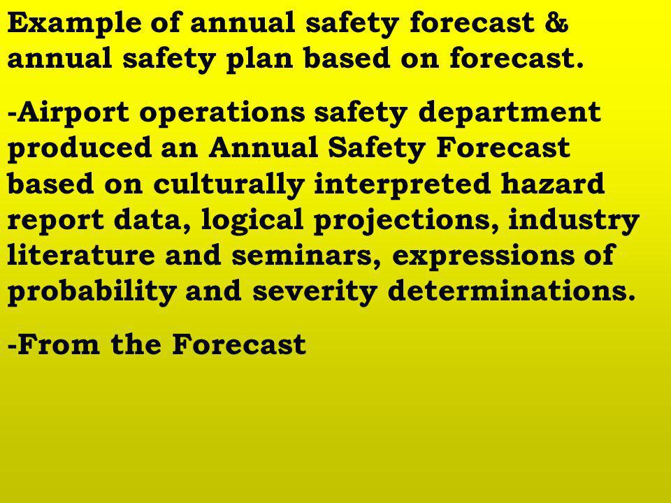 Example of annual safety forecast & annual safety plan based on forecast. -Airport operations safety department produced an Annual Safety Forecast bas