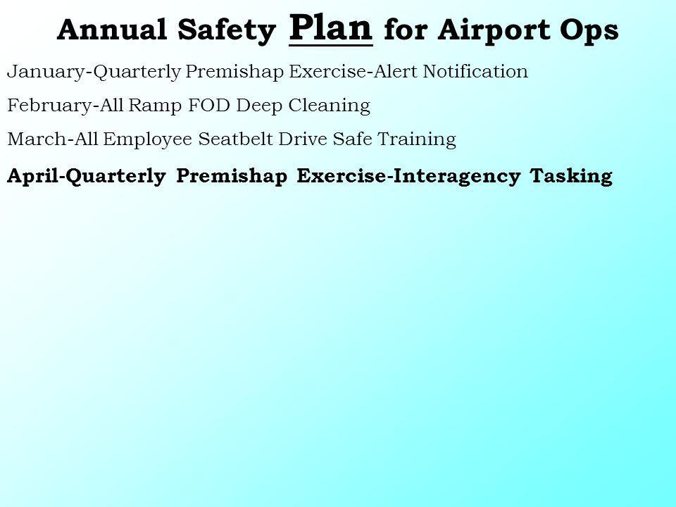 Annual Safety Plan for Airport Ops January-Quarterly Premishap Exercise-Alert Notification February-All Ramp FOD Deep Cleaning March-All Employee Seat